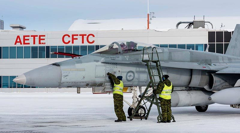 RAAF F/A-18A Hornet A21-053 arrives at its new home in Canada. Defence Forces Canada photo.