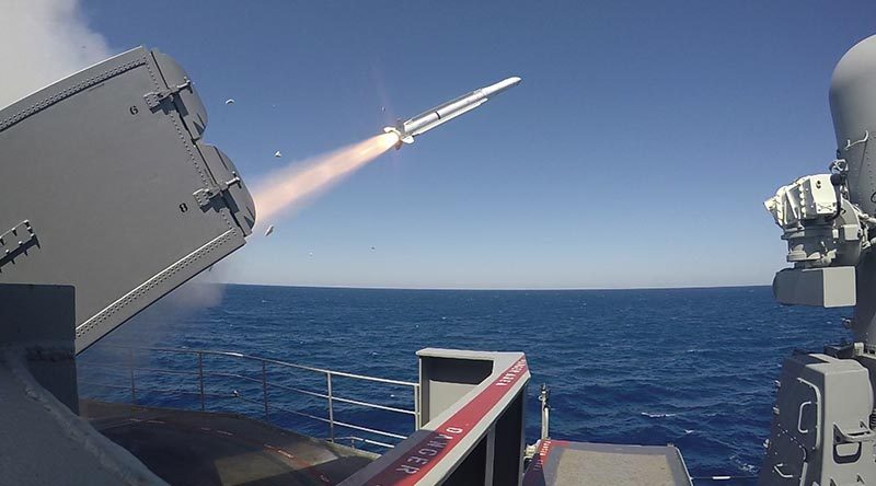 Nimitz-class aircraft carrier USS Abraham Lincoln fires a RIM-162D Sea Sparrow missile from a NATO Sea Sparrow Surface Missile System during combat systems ship qualification trials. US Navy photo by Mass Communication Specialist 2nd Class Jacques-Laurent Jean-Gilles.