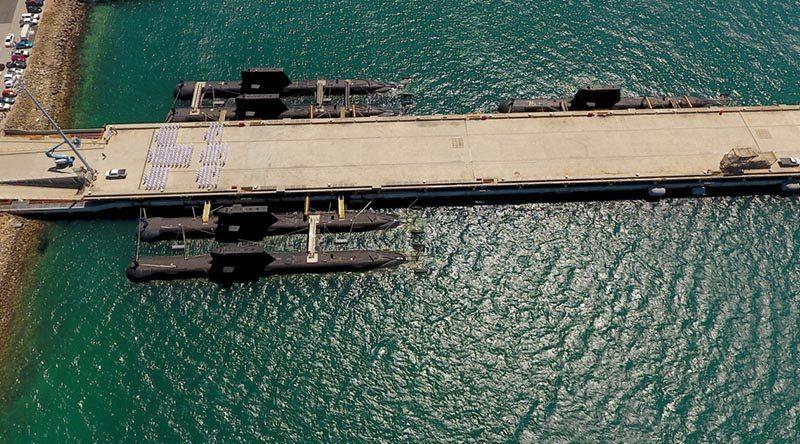 Five submarines alongside Diamantina Pier, Fleet Base West – HMAS Rankin, HMAS Waller, HMAS Farncomb, HMAS Sheean and HMAS Dechaineux. Photo by Lieutenant Ben Durnin.