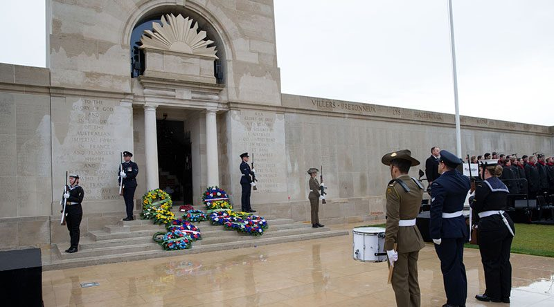 Australia's Federation Guard catafalque party prepare to dismount during the commemorative service for the centenary of the First World War Armistice, Australian National Memorial, Villers-Bretonneux, France. Photo by Corporal Jake Sims.