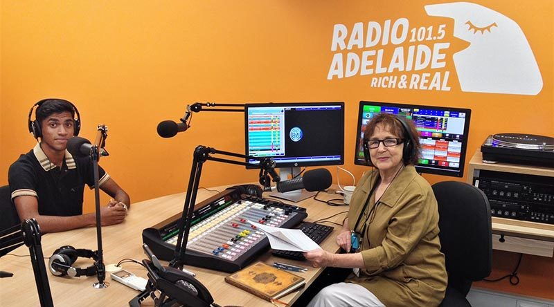 CCPL Ajaay Sureiander, 601 Squadron, AAFC, in the studio of Radio Adelaide 105.1 FM with Helen Meyer, Executive Producer of Service Voices. Photo by Flying Officer (AAFC) Paul Rosenzweig