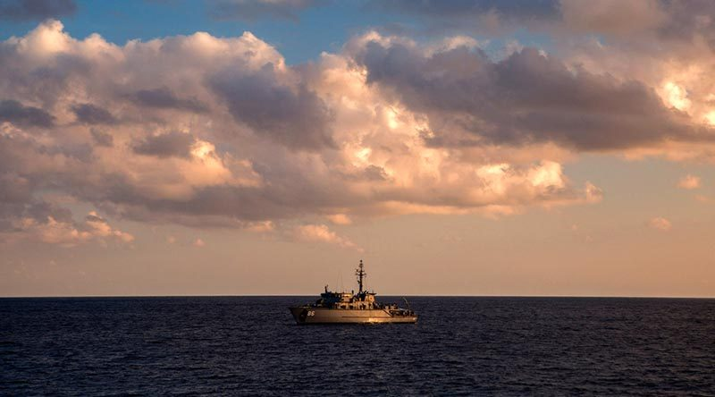 Minehunter coastal HMAS Diamantina sails across the Bay of Bengal towards Sri Lanka before commencing a search for the lost Australian warship HMAS Vampire. Photo by Leading Seaman Kayla Jackson.