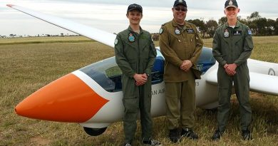 Cadet Corporal Benjamin Dunk (right) after achieving solo status in the DG-1000S glider on 6 October 2017 during a gliding camp at Balaklava, SA; with Cadet Corporal Tomasz Kocimski (left) and their instructor Pilot Officer (AAFC) Dennis Medlow. Photo supplied by No 600 Aviation Training Squadron