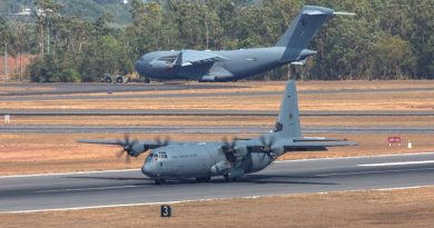 Royal Australian Air Force C-130J Hercules and C-17 Globemaster at RAAF Base Darwin during Exercise Pitch Black 18. Photo by Corporal David Gibbs.