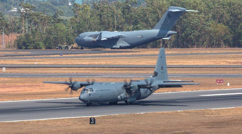 Royal Australian Air Force C-130J Hercules and C-17 Globemaster at RAAF Base Darwin during Exercise Pitch Black 18. Photo by Corporal David Gibbs.