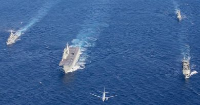 HMAS Ships Parramatta, Canberra, Newcastle and Success in formation with a P-8A Poseidon and a MH60-R helicopter off the Western Australia coast on its way to Sri Lanka and beyond. Photo by Corporal Kylie Gibson.