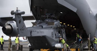 A RNZAF no.3 SQN NH90 helicopter is loaded into a RAAF C-17 Globemaster III, on its way to the Solomon Islands for the first post RAMSI general election on the archipelago. NZDF photo.