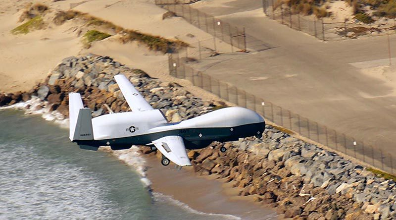 An MQ-4C Triton arrives at Naval Base Ventura County, California, after a flight from Palmdale that was remotely controlled from NAS Pax River. US Navy photo by Public Affairs Specialist Theresa Miller.