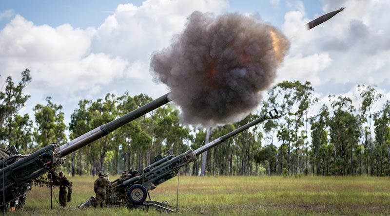 A SMArt 155 munition is fired from an Australian Army M777 howitzer, from 107 Battery, 4th Regiment, Royal Australian Artillery, during Exercise Chimera at Shoalwater Bay. Photo by Corporal Kyle Genner.