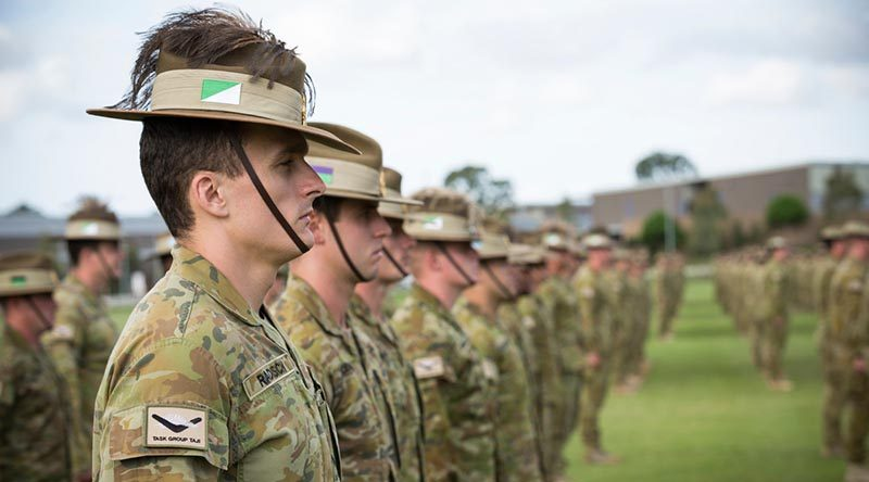 Australian Army soldiers from Task Group Taji IX on their formal farewell parade at Gallipoli Barracks, Brisbane. Photo by Corporal Nunu Campos.