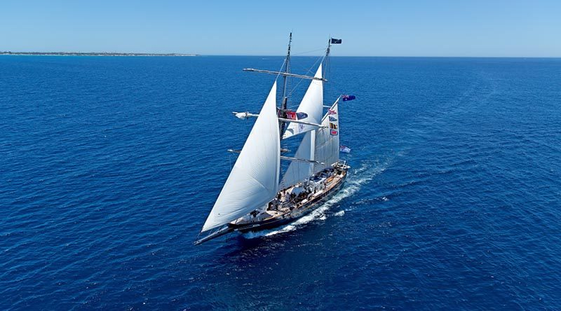 STS Young Endeavour heading towards Fremantle Port after a year-long circumnavigation of the world. Royal Australian Navy photo.