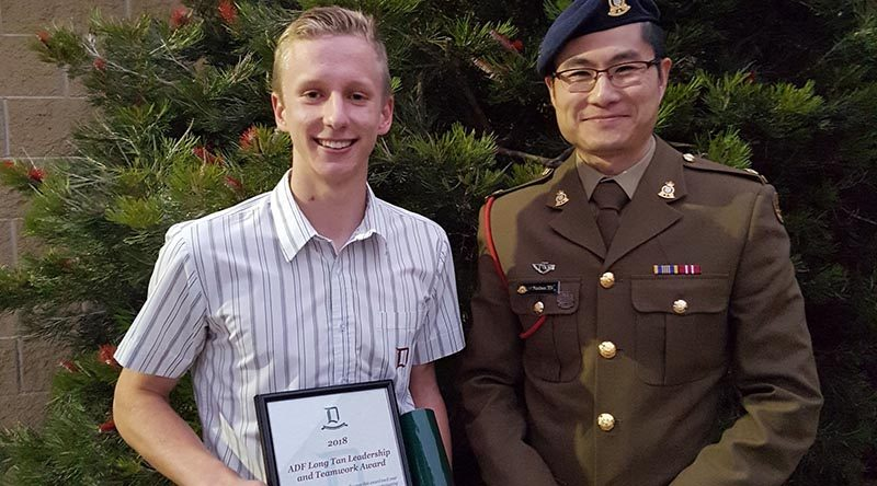 As a student at Doncaster Secondary College, Mark Hargreaves was a recipient of a 2018 ADF Long Tan Youth Leadership & Teamwork Award, for demonstrating leadership and teamwork within both the school and the broader community. Photo supplied by CSGT Hargreaves.