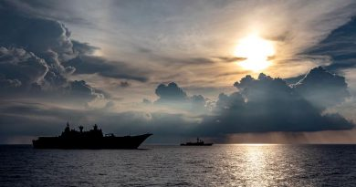 HMA Ships Canberra and Newcastle sail in company during Indo-Pacific Endeavour 2019. Photo by Leading Seaman Christopher Szumlanski.