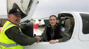 CCPL Kiera Galan, 429 Squadron AAFC, is congratulated by SQNLDR Gary Presneill, EFTS Head of Operations and flying Instructor, following her first solo powered flight in a DA40 NG on 18 April 2019. Photo by SQNLDR (AAFC) Scott Wiggins.