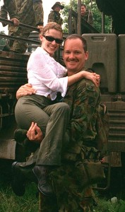 Then Corporal, now CONTACT Managing Editor, Brian Hartigan with Pop Idol Kylie Minogue in East Timor, December 1999.