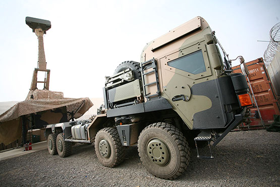 Counter Rocket, Artillery and Mortar System (C‑RAM) Sense and Warn and the MAN truck that carries it, in Tarin Kot, Afghanistan.