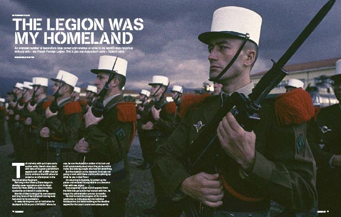 "Intro spread from ""The Legion was my Homeland"", first published in CONTACT Air Land & Sea issue 1 - March 2004."