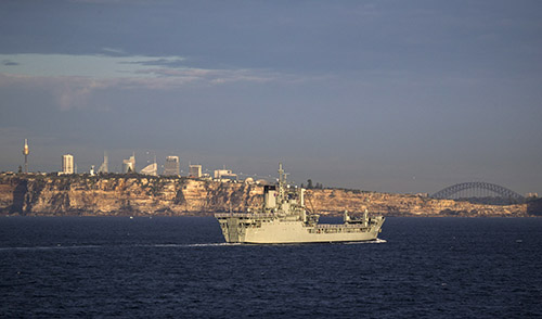 HMAS Tobruk returns to her home port in Sydney Harbour for the last time before decommissioning.