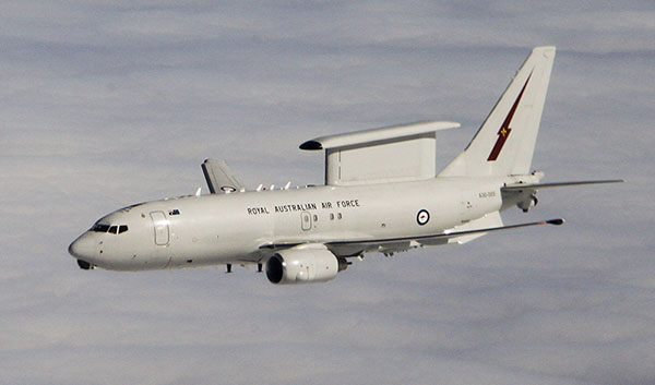 A Royal Australian Air Force E-7A Wedgetail Airborne Early Warning and Control aircraft over Iraq, 2014.
