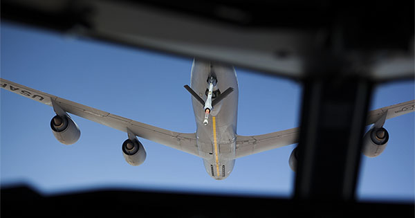 The view from the cockpit of a Royal Australian Air Force E-7A Wedgetail as it prepares to refuel mid-air from a United States Air Force KC-135 Stratotanker during a mission over Iraq.