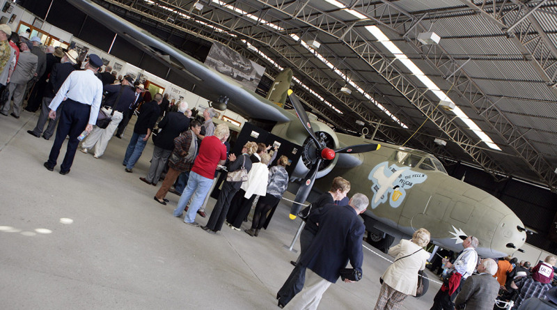 People meander through one of the display hangers during the official opening of the RAAF Amberley Aviation Heritage Centre at RAAF Base Amberley.