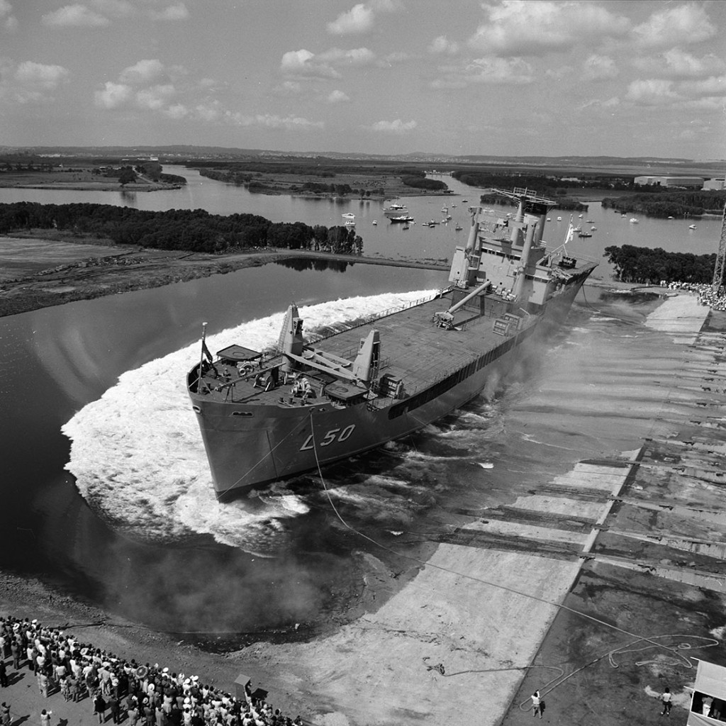 HMAS Tobruk II (L50) on her launch day, 1 March 1980.