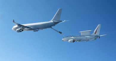 KC-30A MRTT and E-7A Wedgetail conduct Air to Air refuelling testing in the airspace near RAAF Williamtown.