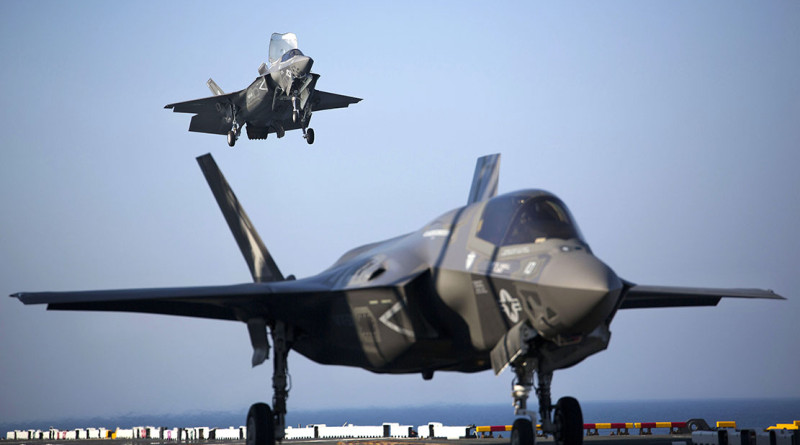 Two F-35B Lightning II Joint Strike Fighters complete vertical landings aboard the USS Wasp (LHD-1). US Marine Corps photo by Lance Corporal Remington Hall