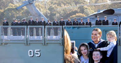 Crew members of HMAS Melbourne stand at attention on the flight deck as they depart Fleet Base East, Sydney - and, inset, Seaman Makinlee Clarke farewells her family. Photos by Able Seaman Kayla Hayes