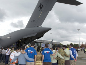 Royal Australian Air Force C-17 Globemaster aircraft carrying humanitarian supplies during Myanmar Assist is greeted by representatives from the Myanmar Government, Australian Aid, World Vision, the International Organization for Migration and the Australian Defence Force at Yangon Airport. Photo by Corporal Bill Solomou