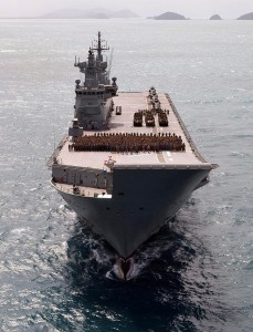 The Amphibious Ready Element on the flight deck of HMAS Canberra during Sea Series 2015