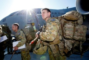 Australian Army Ready Combat Team personnel board a Royal Australian Air Force (RAAF) C-17 Globemaster at RAAF Base Amberley for transport to RAAF Learmonth during Exercise Northern Shield 2015.