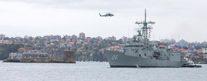 HMAS Newcastle sails past Fort Denison, Sydney Harbour, as she returns to her home port of Fleet Base East after completing a successful rotation of Operation Manitou. Photo by Able Seaman tom Gibson.
