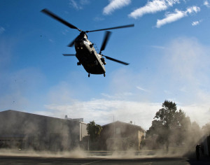 A CH47-D Chinook helicopter lands at the SASR History and Research Centre at Campbell Barracks, WA, where it will be decommissioned as a training aid and static display. ADF photo.