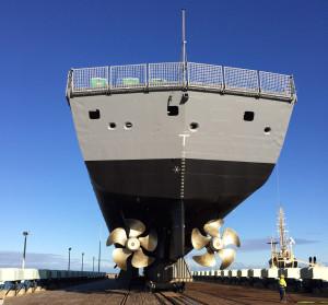 HMAS Ballarat read to go back into the water at Henderson, Western Australia. Photo supplied.