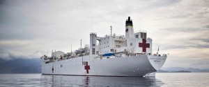 Hospital ship USNS Mercy off the coast of Bougainville during Pacific Partnership 2015. Photo by Able Seaman Chantell Brown