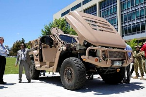 Hawkei on display at Defence HQ in Canberra. Photo by Corporal Aaron Curran.