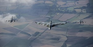 RAF Tornados escort the last flying Vulcan on one of her last missions. Photo Crown Copyright
