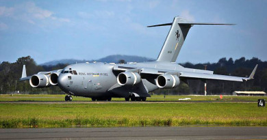 C-17A Globemaster III A41-212 lands at Amberley. Photo by Corporal Shannon McCarthy.