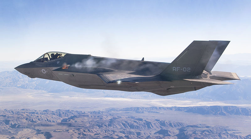 AF-2 First Aerial Gun Fire 10/30/2015. Pilot Maj Charles Trickey, Flt 527 Test 778. Test was conducted over China Lake Weapon Range, California. Photo by Chad Bellay, Edwards F-35 Integrated Test Force