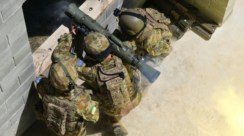 Australian Army soldiers fire an 84mm Carl Gustav recoilless rifle.