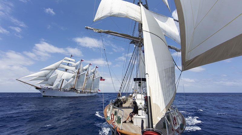 STS Young Endeavour rendezvous with Chilean Navy Sail Training Ship Esmeralda in the Atlantic Ocean, during voyage 7 of the World Voyage. Photo by Leading Seaman Paul McCallum