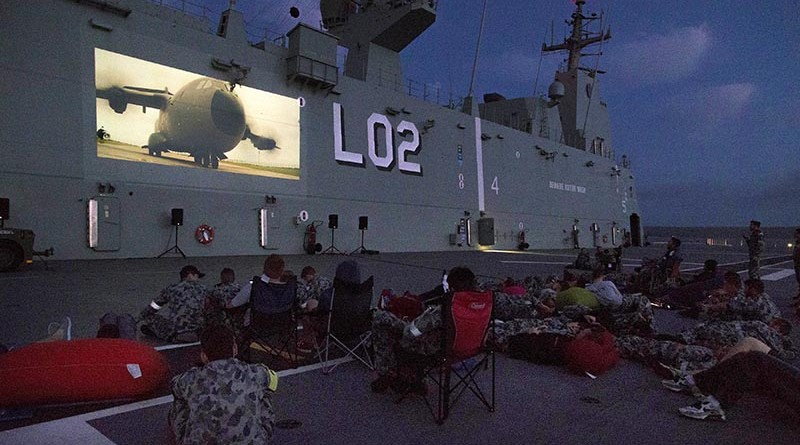 HMAS Canberra's ship's company watch a movie on the flight deck while at anchor in Jervis Bay during Fleet Concentration Period 2015. Photo by Leading Seaman Helen Frank