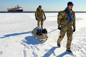 Lance Corporal Ben Roberts (front) and Marine Luke Bright on Antarctic ice. Photo by L(Phot) Nicky Wilson. © Crown copyright 2016