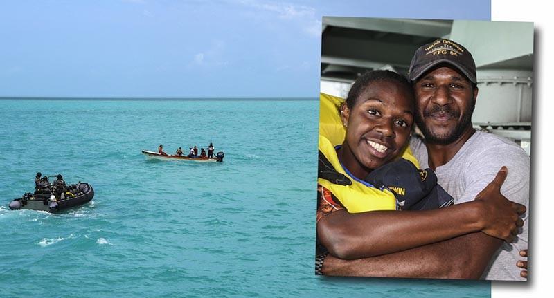 Seaman Edmund Tomsana hugs his sister during an unusual family reunion. Photos by Leading Seaman Sarah Ebsworth