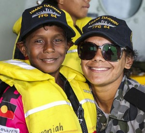 Seaman Amber Phineasa with a family member.
