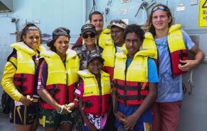 Seaman Amber Phineasa and her family aboard HMAS Darwin.