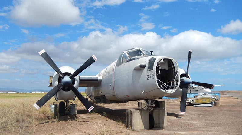 Neptune A89-272 - at RAAF Base Townsville - parked at the back of the Base having been dismantled to provide parts for A89-280 - both aircraft were damaged in cyclone Lasi. Photo by Wing Commander Bill Sanders
