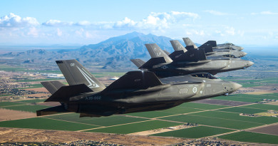 An Aussie and three US F-35A Lightning IIs on a training sortie near Luke Air Force Base, Arizona. Lockheed Martin photo