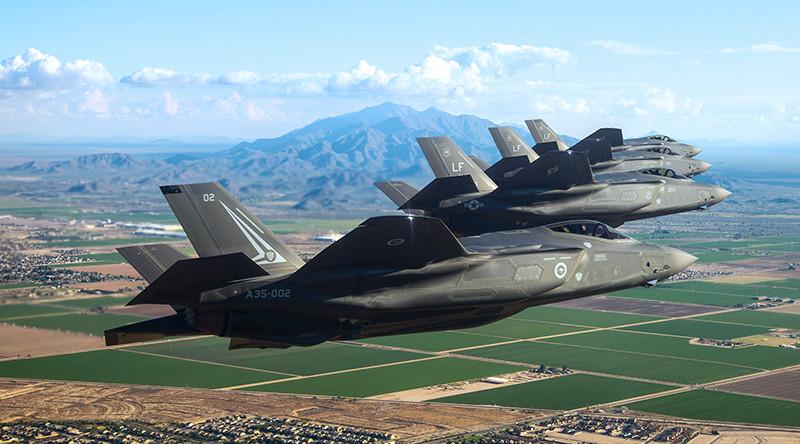 An Aussie and three US F-35A Lightning IIs on a training sortie near Luke Air Force Base, Arizona. Lockheed Martin photo